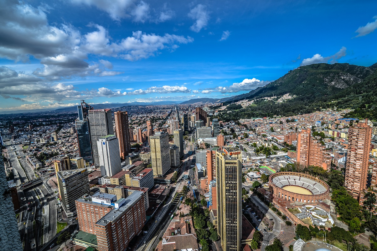 Aerial view of Bogota, the capital of Colombia.