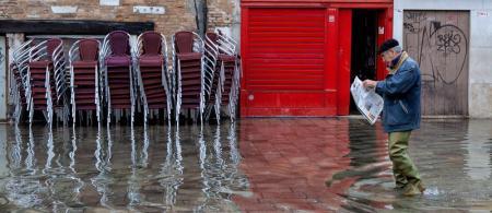 Flooded street in Venice