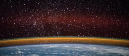 An image of earth's atmosphere and outer space.