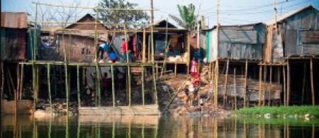 Stilt houses in Bangladesh