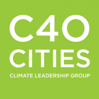 Light green square with C40 Cities Climate Leadership Group written in white in it