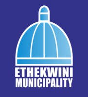 Light blue dome with white border on dark blue background with eThekwini Municipality written in capital white letters under the dome