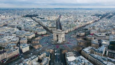 Aerial view of Paris, France.